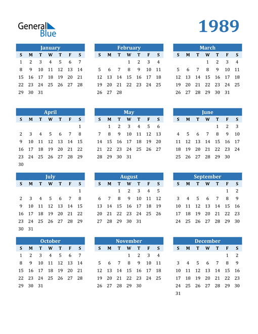 Image of 1989 1989 Calendar Blue with No Borders