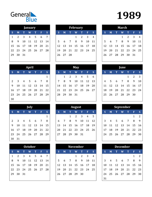 Image of 1989 1989 Calendar Stylish Dark Blue and Black