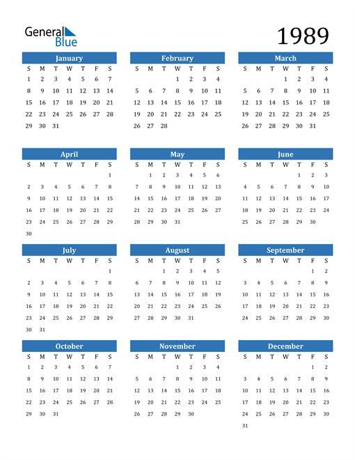 Image of 1989 1989 Calendar
