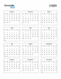 Image of 1989 1989 Calendar Streamlined