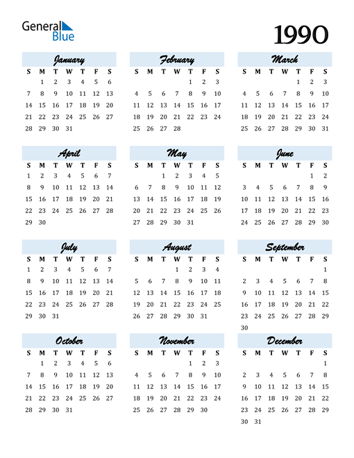 Image of 1990 1990 Calendar Cool and Funky