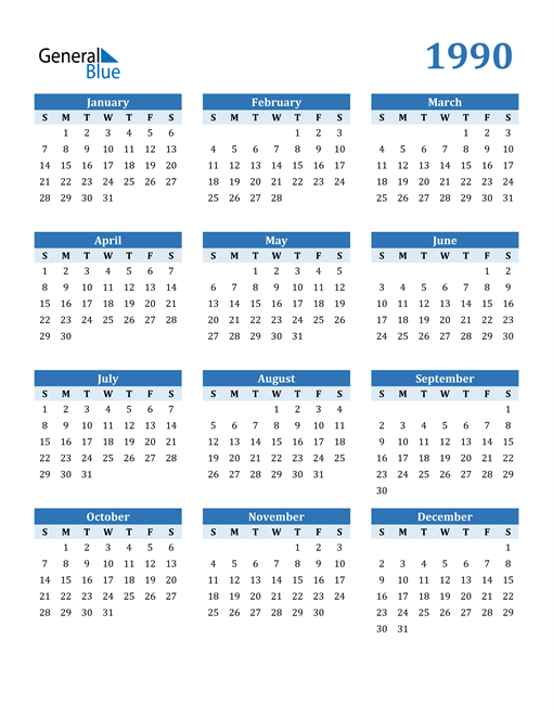 Image of 1990 1990 Calendar Blue with No Borders