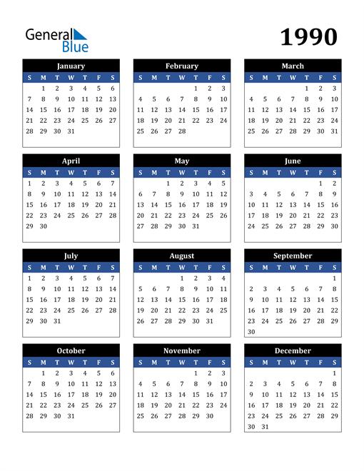 Image of 1990 1990 Calendar Stylish Dark Blue and Black