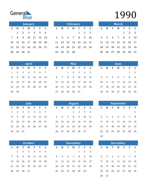 Image of 1990 1990 Calendar