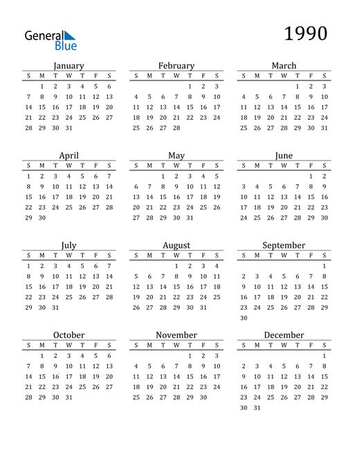 Image of 1990 1990 Printable Calendar Classic