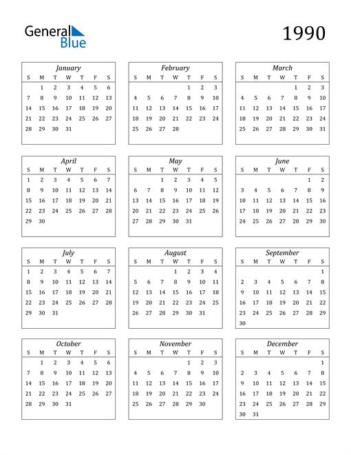 Image of 1990 1990 Calendar Streamlined
