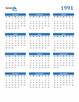 Image of 1991 1991 Calendar Blue with No Borders
