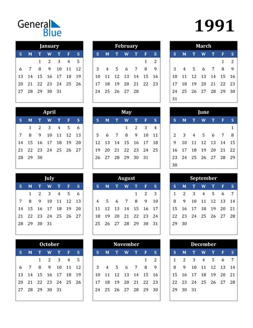 Image of 1991 1991 Calendar Stylish Dark Blue and Black