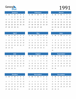 Image of 1991 1991 Calendar
