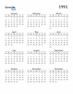 Image of 1991 1991 Printable Calendar Classic