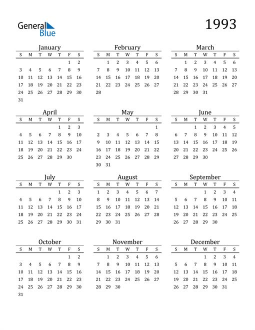 Image of 1993 1993 Printable Calendar Classic