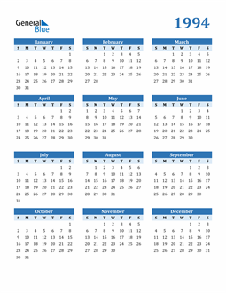 Image of 1994 1994 Calendar Blue with No Borders