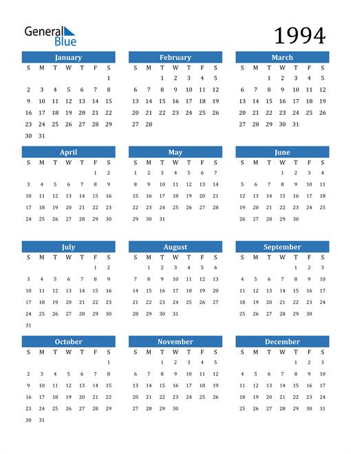 Image of 1994 1994 Calendar