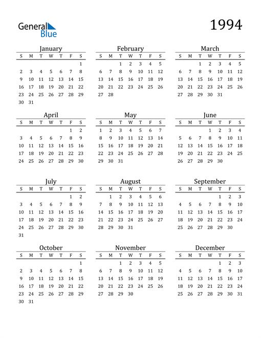 Image of 1994 1994 Printable Calendar Classic