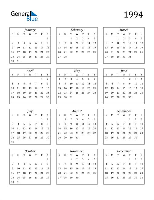 Image of 1994 1994 Calendar Streamlined