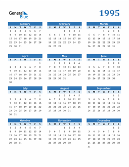 Image of 1995 1995 Calendar Blue with No Borders