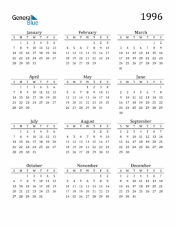 Image of 1996 1996 Printable Calendar Classic
