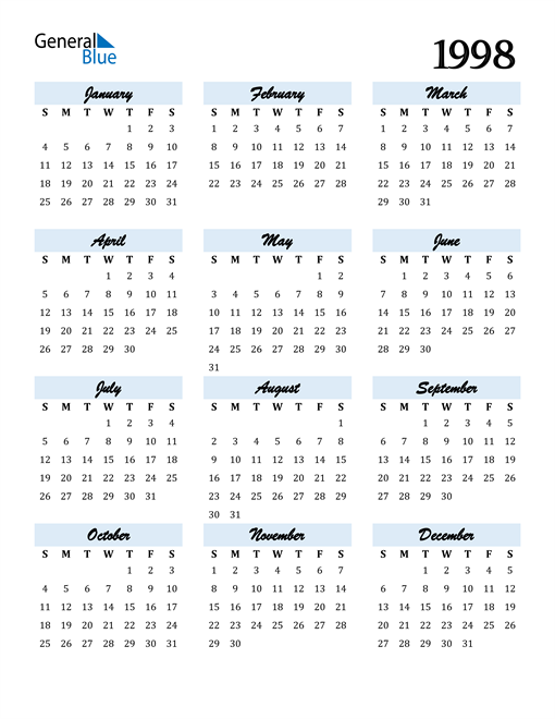 Image of 1998 1998 Calendar Cool and Funky