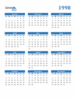 Image of 1998 1998 Calendar Blue with No Borders