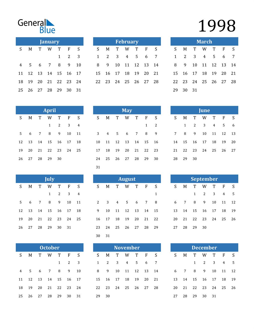 1998 Calendar (PDF, Word, Excel)