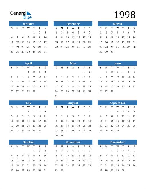 1998 Calendar  Pdf  Word  Excel