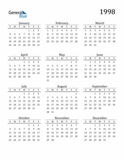 Image of 1998 1998 Printable Calendar Classic