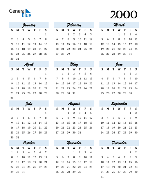 Image of 2000 2000 Calendar Cool and Funky