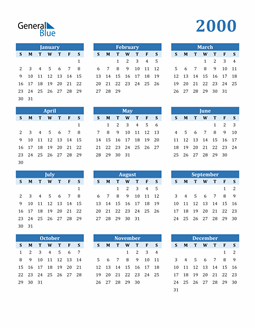 Image of 2000 2000 Calendar Blue with No Borders