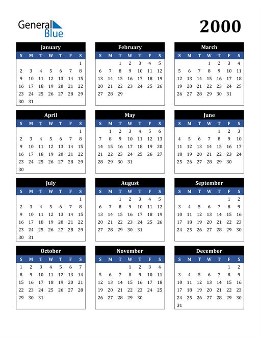 Image of 2000 2000 Calendar Stylish Dark Blue and Black