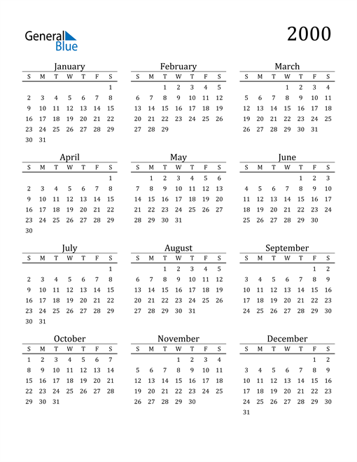 Image of 2000 2000 Printable Calendar Classic