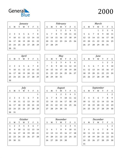 Image of 2000 2000 Calendar Streamlined