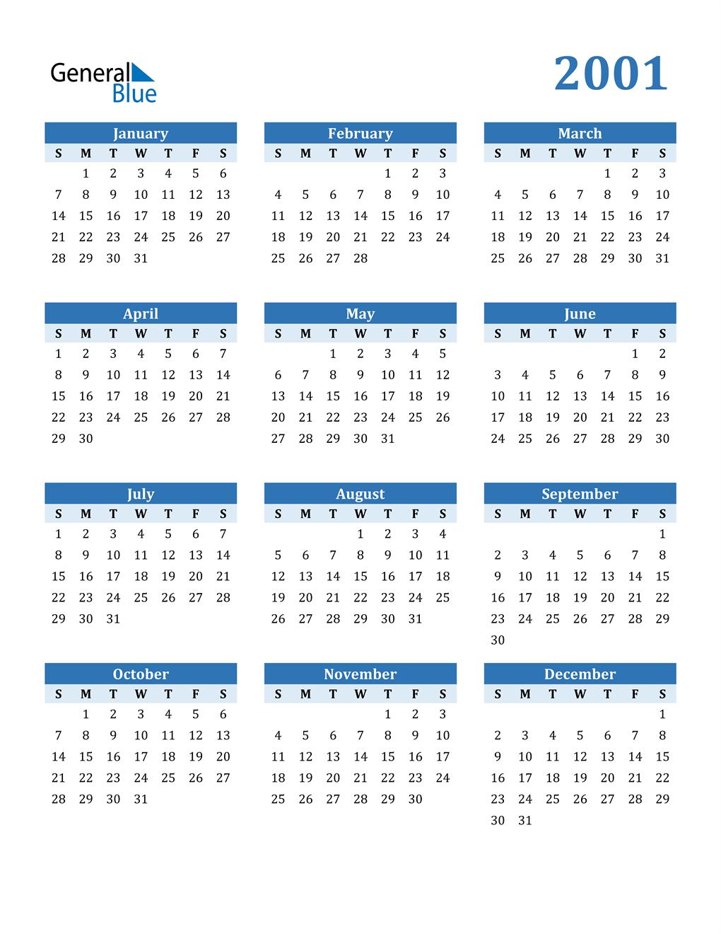 2001 Calendar (PDF, Word, Excel)