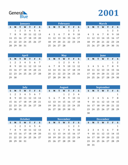 Image of 2001 2001 Calendar Blue with No Borders