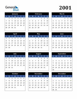 Image of 2001 2001 Calendar Stylish Dark Blue and Black