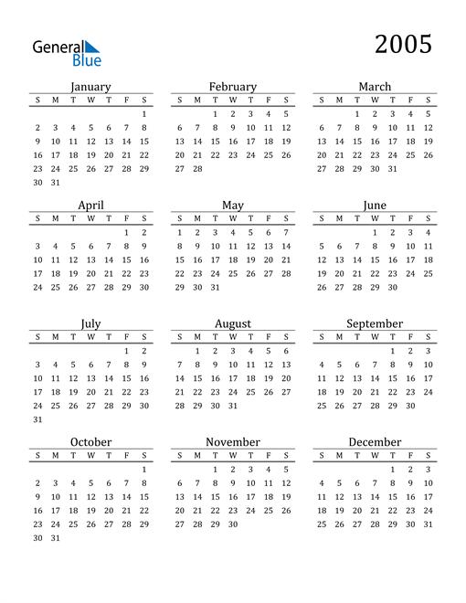 Image of 2005 2005 Printable Calendar Classic