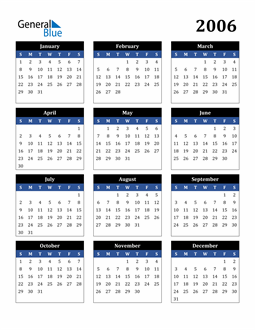 Image of 2006 2006 Calendar Stylish Dark Blue and Black