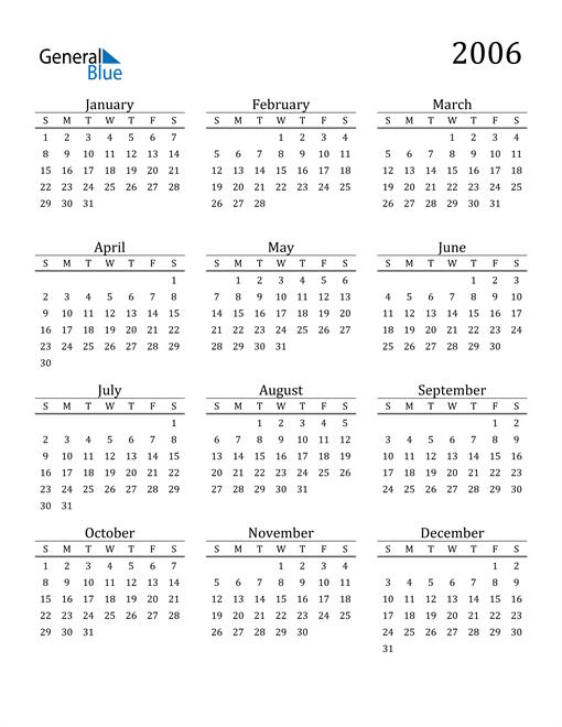 Image of 2006 2006 Printable Calendar Classic