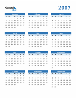 Image of 2007 2007 Calendar Blue with No Borders