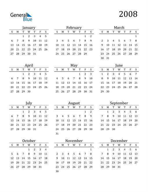 Image of 2008 2008 Printable Calendar Classic