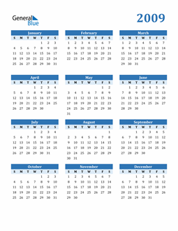 Image of 2009 2009 Calendar Blue with No Borders