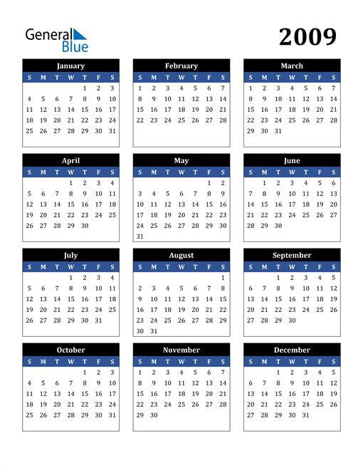 Image of 2009 2009 Calendar Stylish Dark Blue and Black
