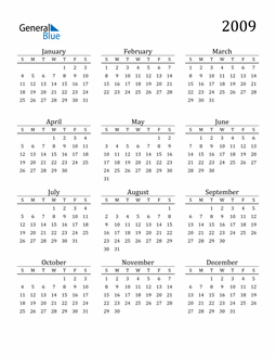 Image of 2009 2009 Printable Calendar Classic