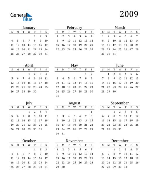 Image of 2009 2009 Printable Calendar Classic