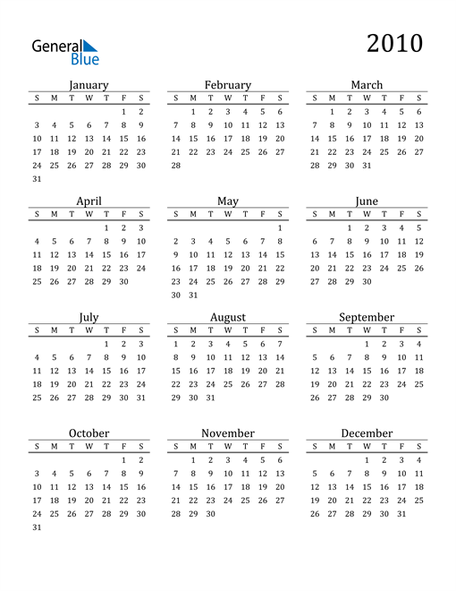 Image of 2010 2010 Printable Calendar Classic