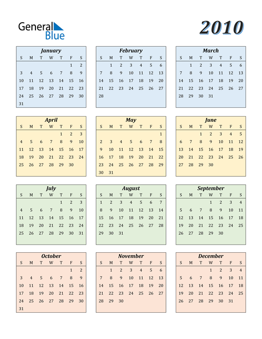 Image of 2010 2010 Calendar with Color