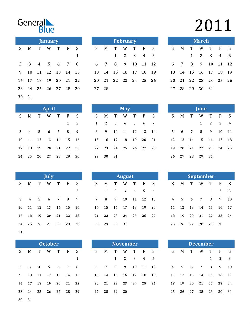 2011 Calendar  Pdf  Word  Excel