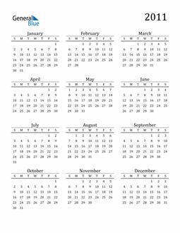 Image of 2011 2011 Printable Calendar Classic