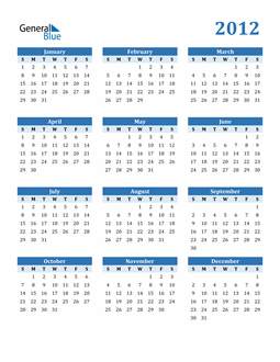 Image of 2012 2012 Calendar Blue with No Borders