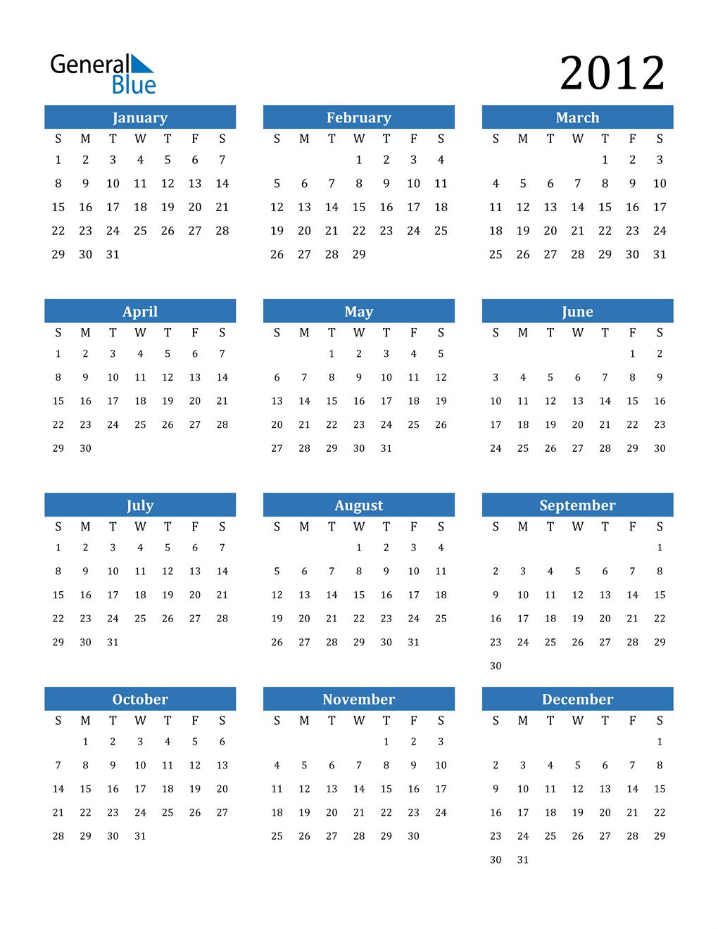2012 Calendar (PDF, Word, Excel)