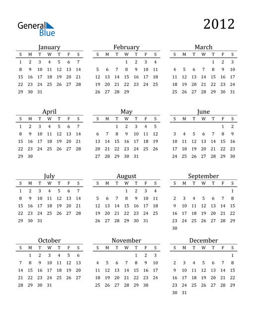 Image of 2012 2012 Printable Calendar Classic